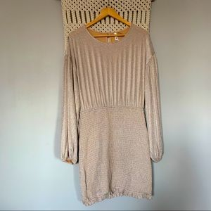 Boutique Smocked Taupe Bodycon Dress